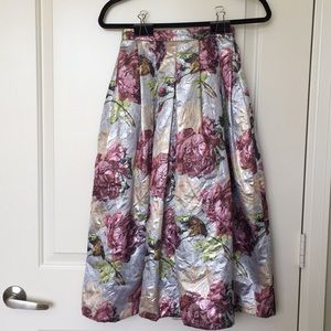 Asos Pleated Midi Floral Skirt